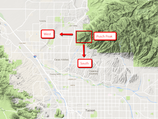 Map of Pusch Peak in relation to Oro Valley and Tucson, Arizona