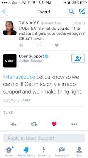 UberEats quick Twitter response.