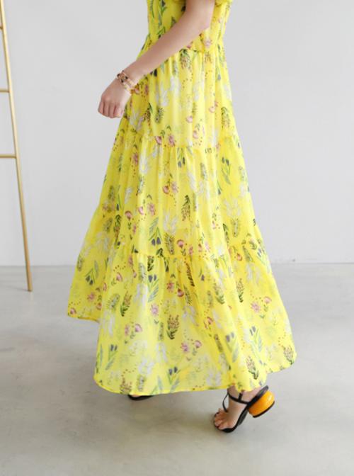 Floral Print V-Neck Long Dress