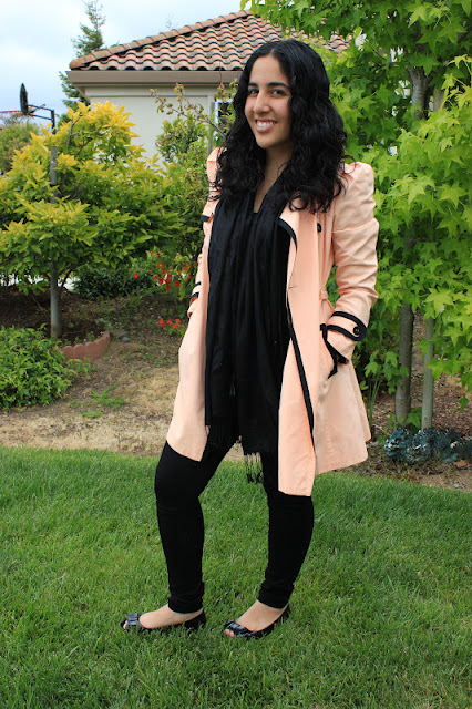 Pastel Orange Trench All Black Work Outfit Inspiration