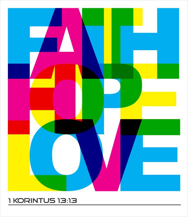 desain faith, hope, love untuk dicetak di kaos