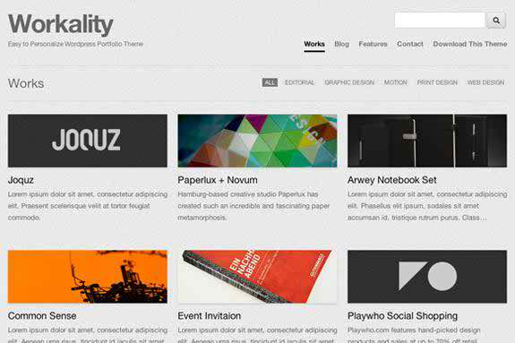 Workality - free grid WordPress theme