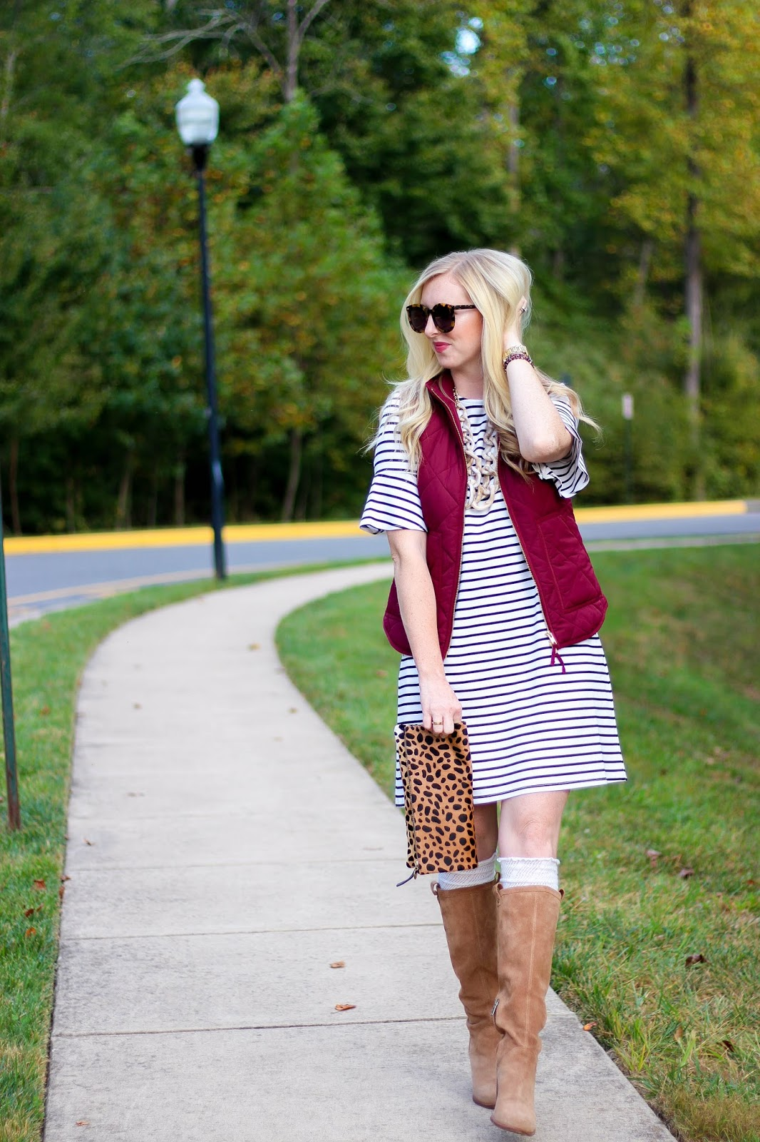 Stripe Dress & Maroon Puffer Vest + Best Columbus Day Sales to Shop by Washington DC fashion blogger Styled Blonde