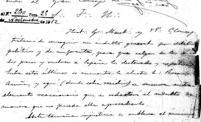 Fragmento de la carta enviada por la logia Jovellanos