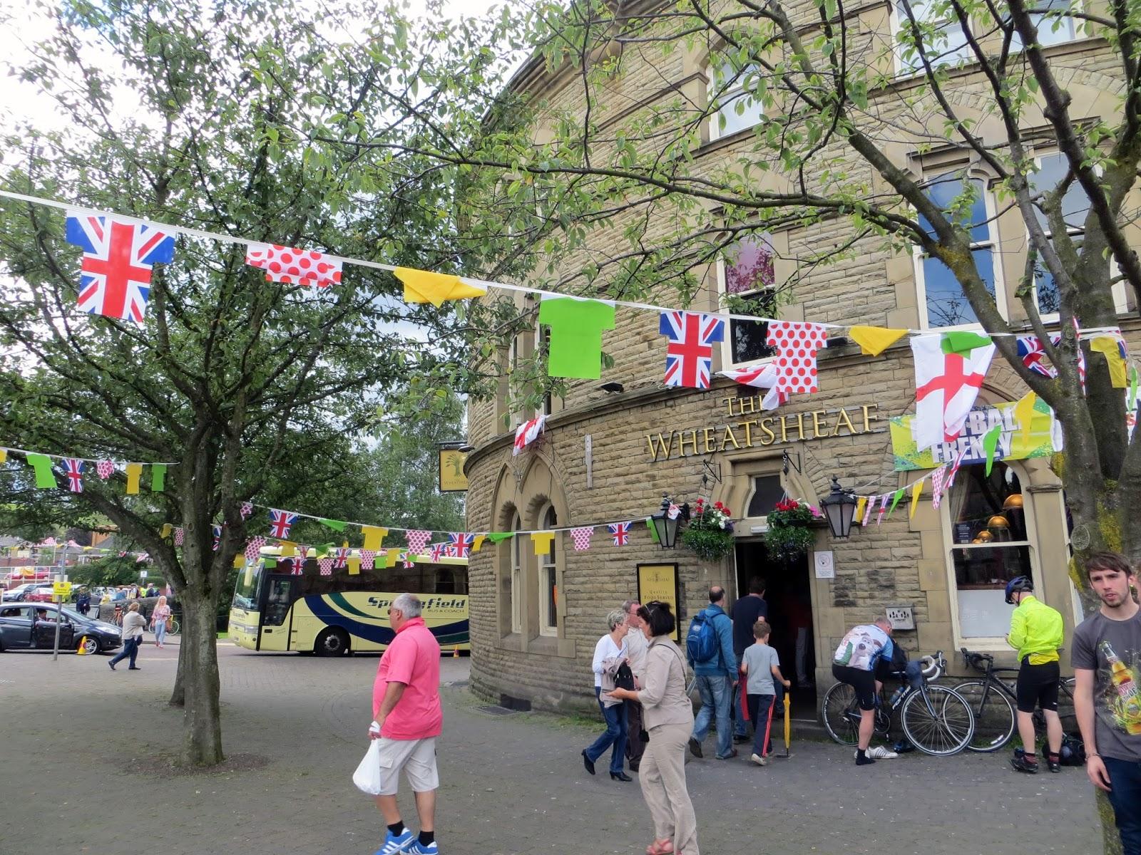 roundhouse, bunting, village, wheatsheaf pub, traditional, le tour de france, le tour, the tour de france, team sky, peloton, yorkshire, lancashire, tour de yorkshire, blackstone edge, cycling, velo, littleborough, greater manchester, rochdale, cragg vale, north west, TDF, 2014, bikes, photography, sport, athletes, cyclists, uk, great Britain, united kingdom, france, french,