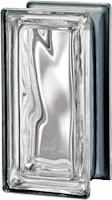 Demi brique de verre incolore métallisé