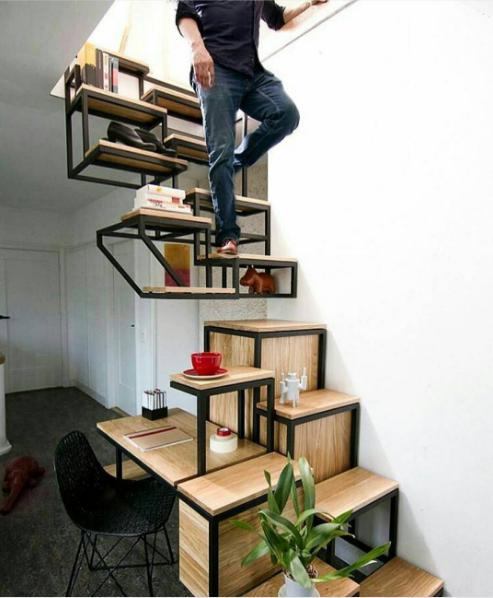 diseo de escaleras muy inusual la forma y la geometra son nicas bsicamente hay dos partes cada una parecida a un mueble escritorio y biblioteca