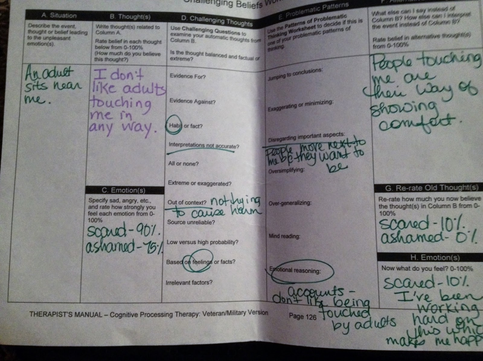 My Story Redeeming Rose 20 Session 7 New Challenging Beliefs Worksheets