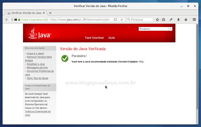 O plugin Java foi instalado com sucesso!