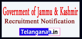 Government of Jammu & Kashmir Recruitment Notification 2017 Last Date 15-04-2017