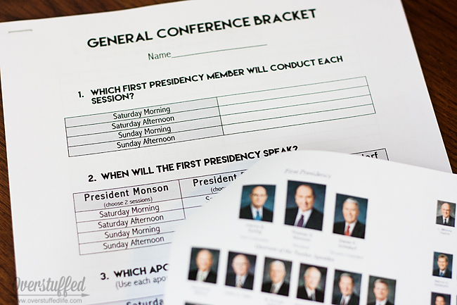 Make General Conference a little competitive with a bracket to fill out beforehand!