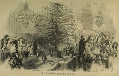 The Christmas Tree engraving for Godey's 1855