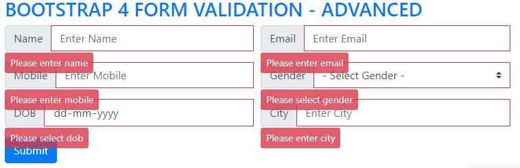 Bootstrap 4 form validation - Advanced