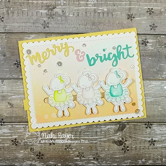 Ballerina Mice Christmas card by Naki Rager | The Nutcracker Squeak Stamp Set and Holiday Greetings Die Set by Newton's Nook Designs  #newtonsnook #handmade