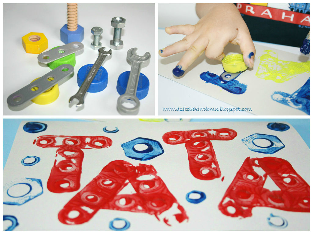 Laurka dla taty, kreatywna zabawa stempelkowa dla dzieci