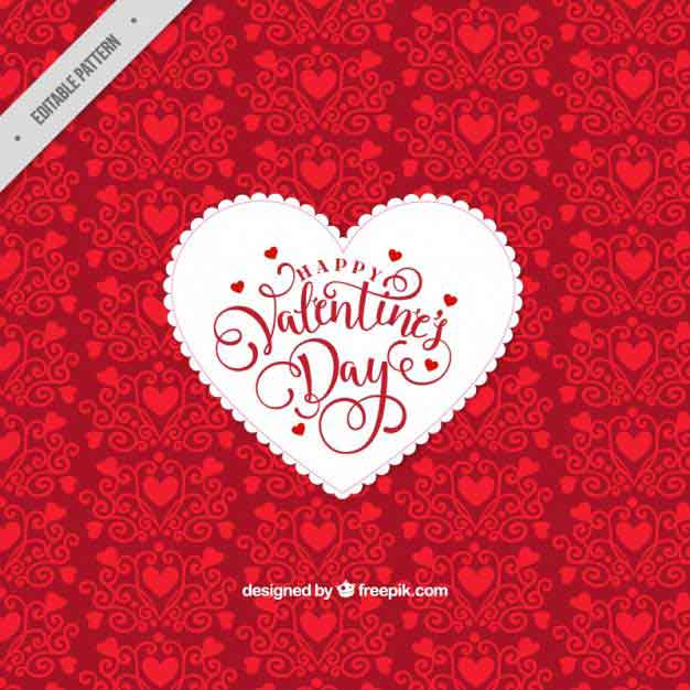 Red decorative background with white heart Free Vector