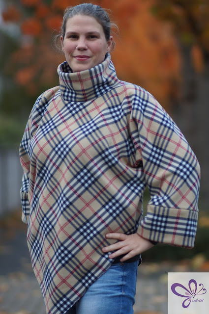 Poncho Pullover, Poncho Pulli, Poncho mit Ärmeln, Poncho with sleeves, Poncho Sweater, Kaidso Onlinekurse, Fleece Burberry Style, Burberry Look Alike