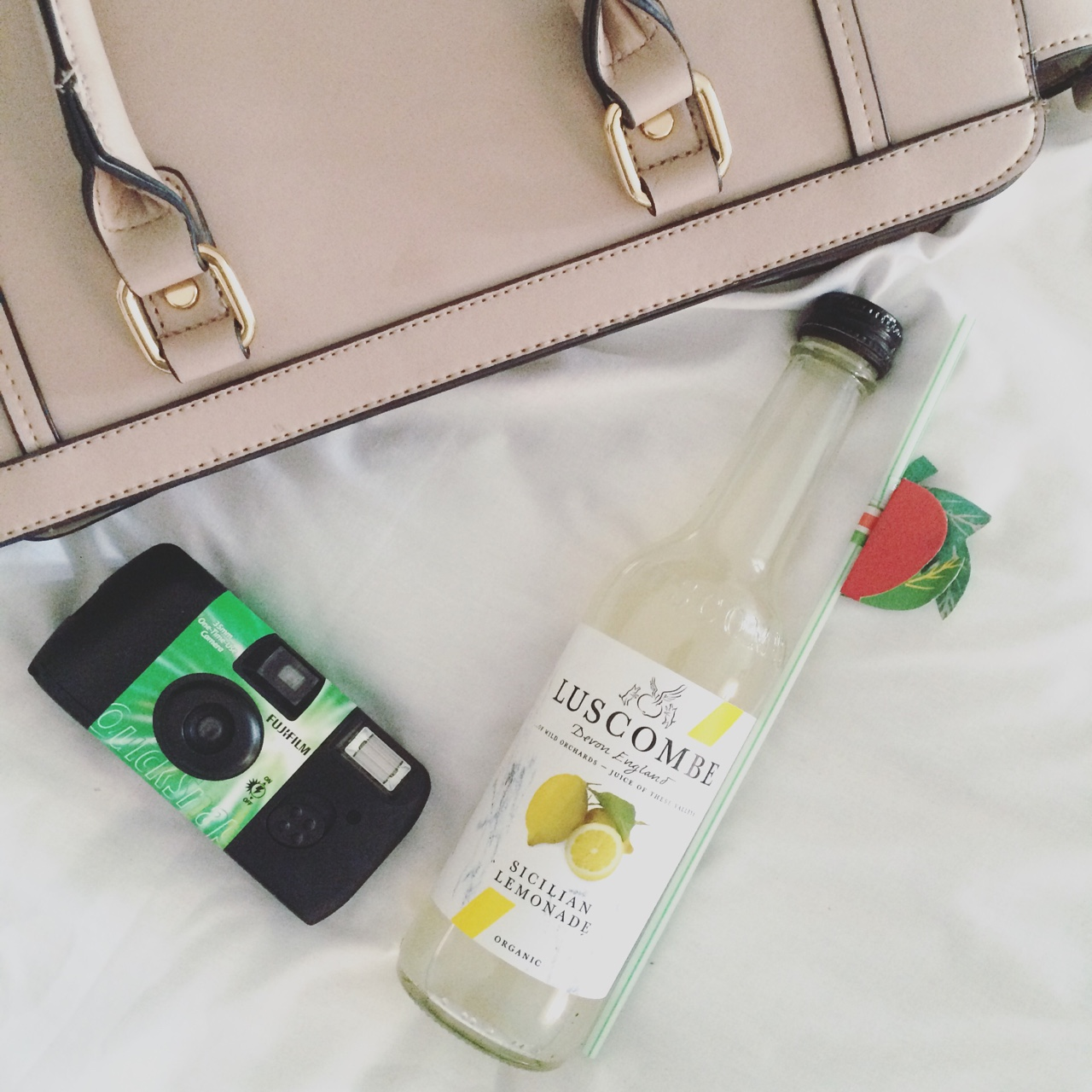 luscombe drinks, lemonade, disposable camera, bag, camera, retro
