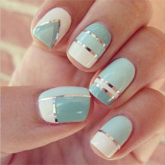 great Mixed Metal Manicure nail ideas for wedding 2016