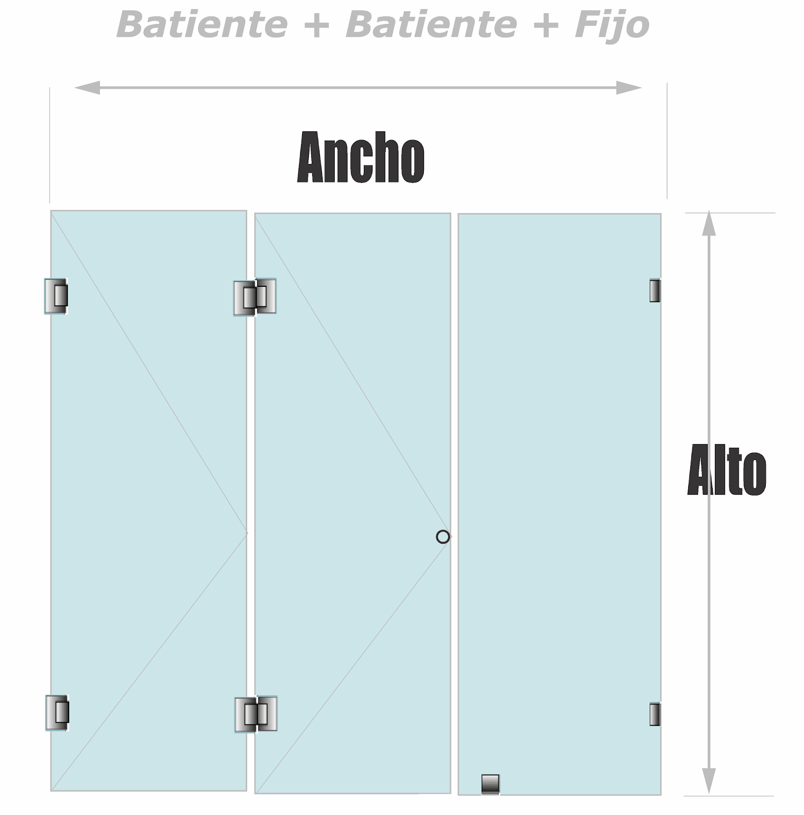 División Para Baño Plegable Plana con fijo sobre vidrio