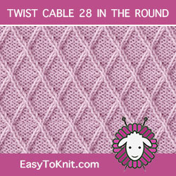 Lattice Twist Cable 28, easy to knit in the round