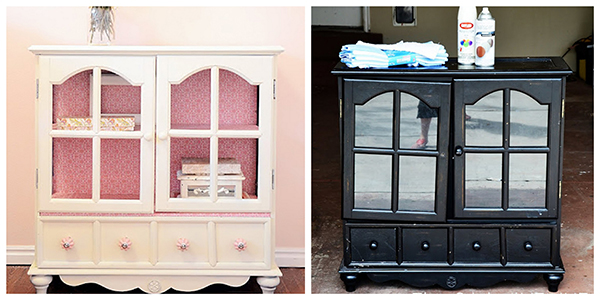 DIY cabinet makeover  If you loved painted furniture or are thinking about using Chalk paint on furniture for the first time then you should check this post full of 25 incredible makeoevers. 25 Fabulous painted furniture ideas!