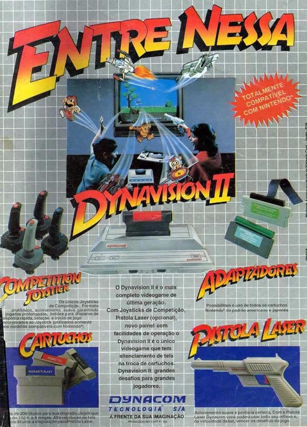Campanha do vídeo-game Dynavision II que era compatível com o Nintendo 8 bits