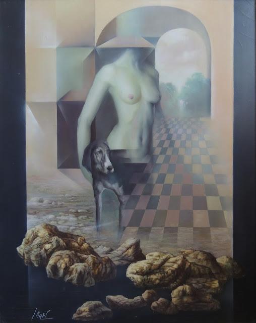 José Marí pintura surrealista arte desnudo y perro