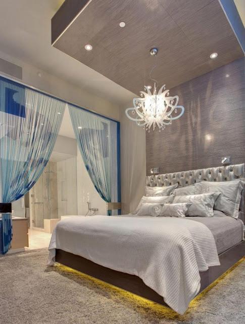 Avant Garde Bedroom With Chandelier