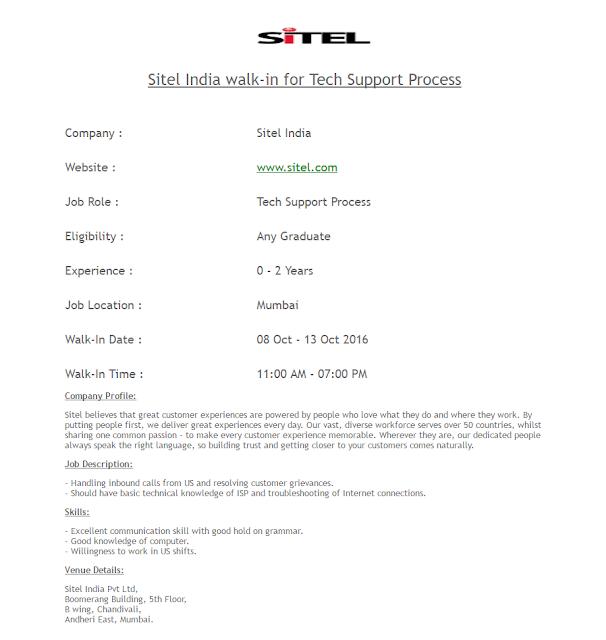 Sitel India walk-in