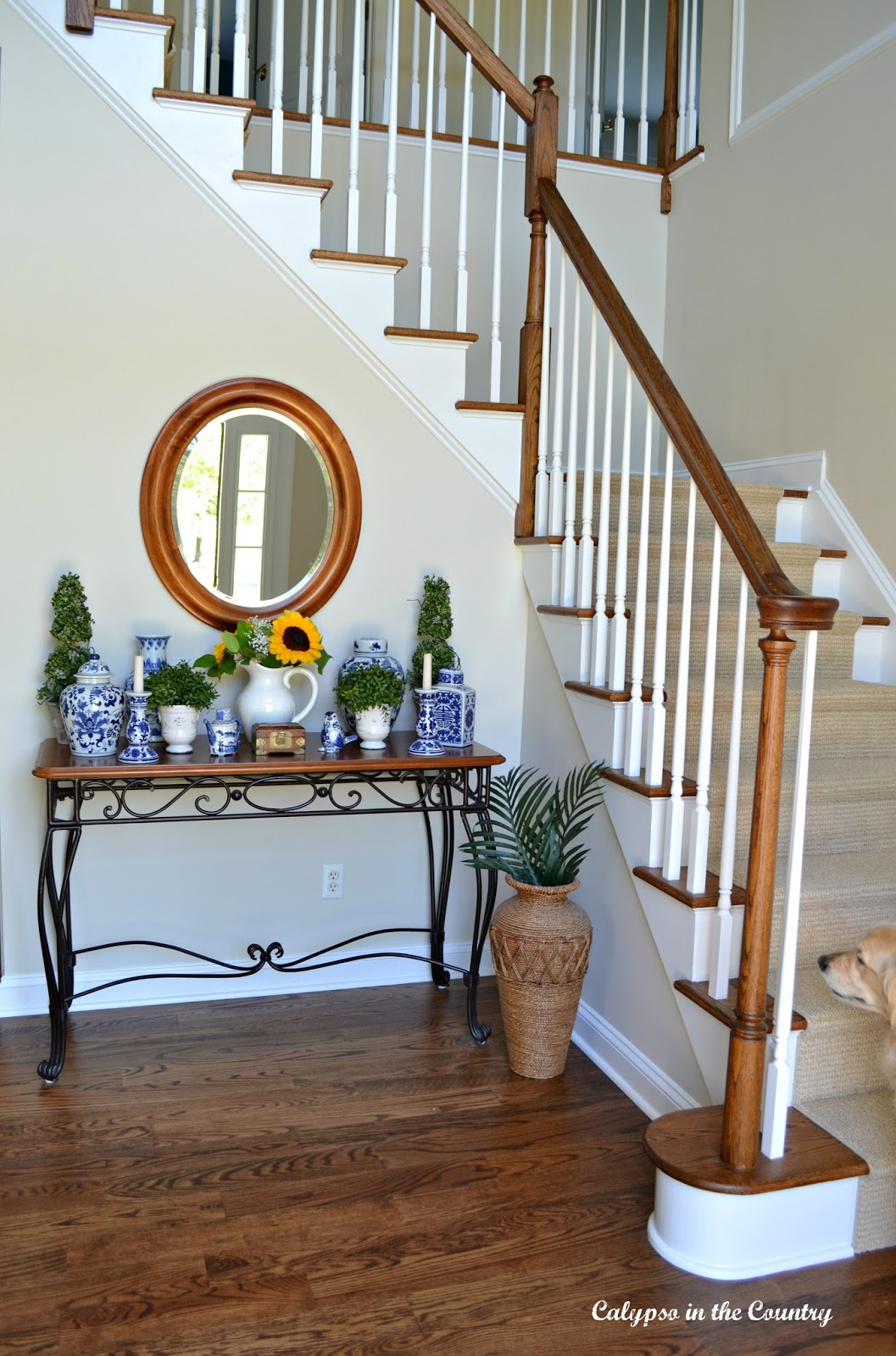 Foyer with decorated console table