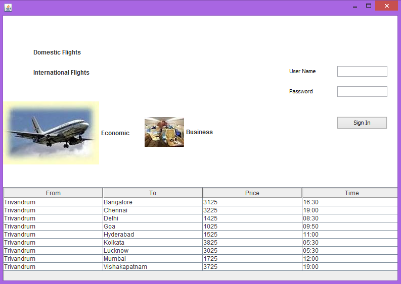 Programmer's Place: Airline Reservation System in java GUI