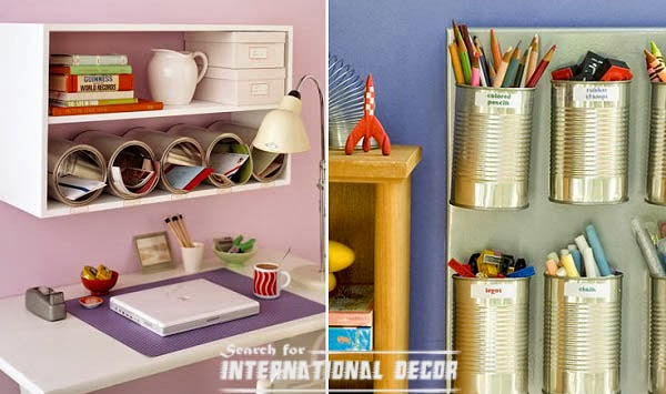 Recycled Cans To Decorate Workspace