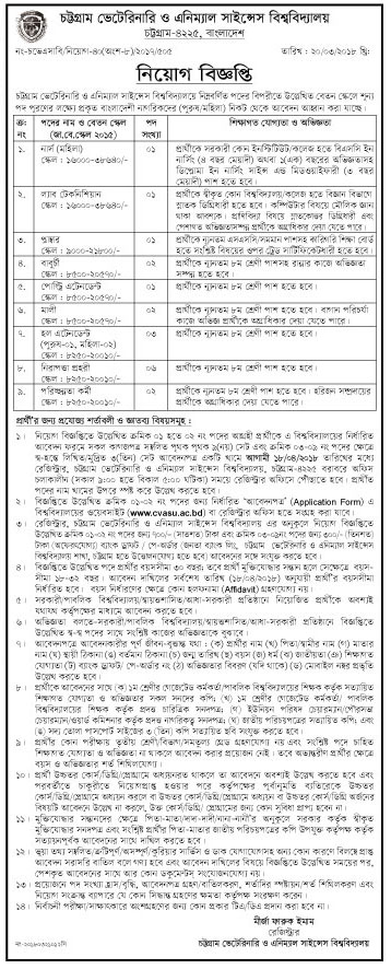 Chittagong Veterinary and Animal Sciences University (CVASU) Job Circular 2018