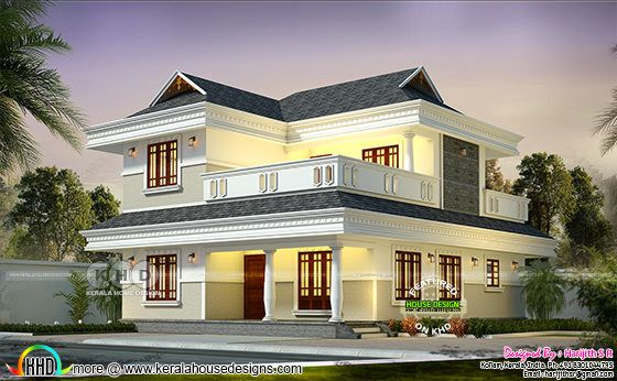 2091 sq-ft 4 bedroom sloping roof modern home