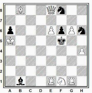 Problema de mate en 2 compuesto por Juan Zaldo (3º Premio, Probleemblad T.T., 1950)