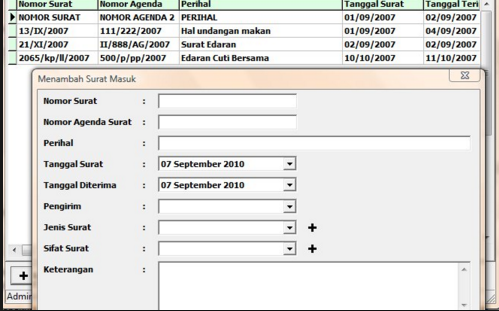 Software Aplikasi Surat Masuk/Keluar Format Microsoft Excel