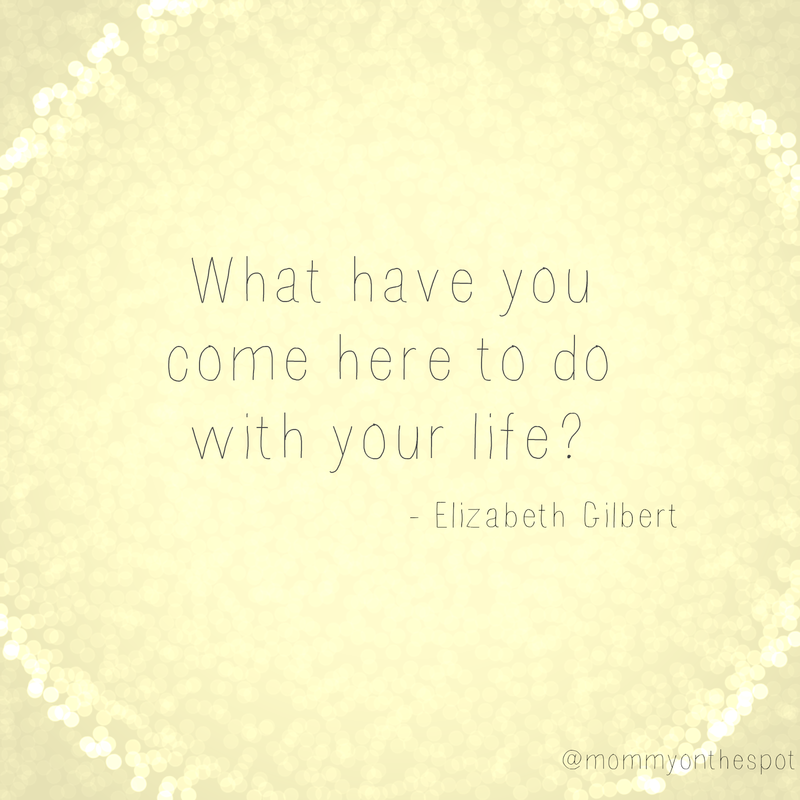 what have you come here to do with your life? Elizabeth Gilbert Mommy on the Spot Erin Janda Rawlings