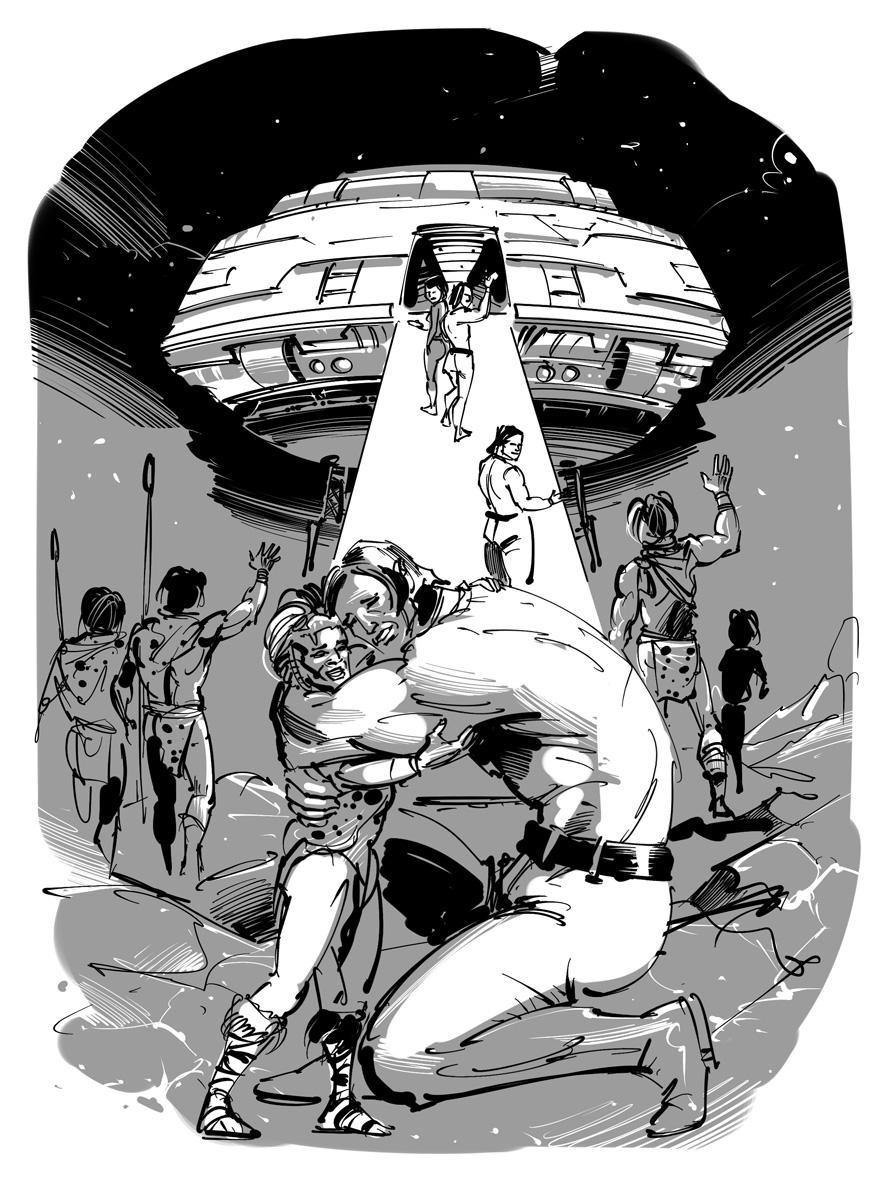 science fantasy novel illustration farewell to aliens