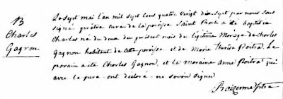 1797 baptism record of Charles Gagnon