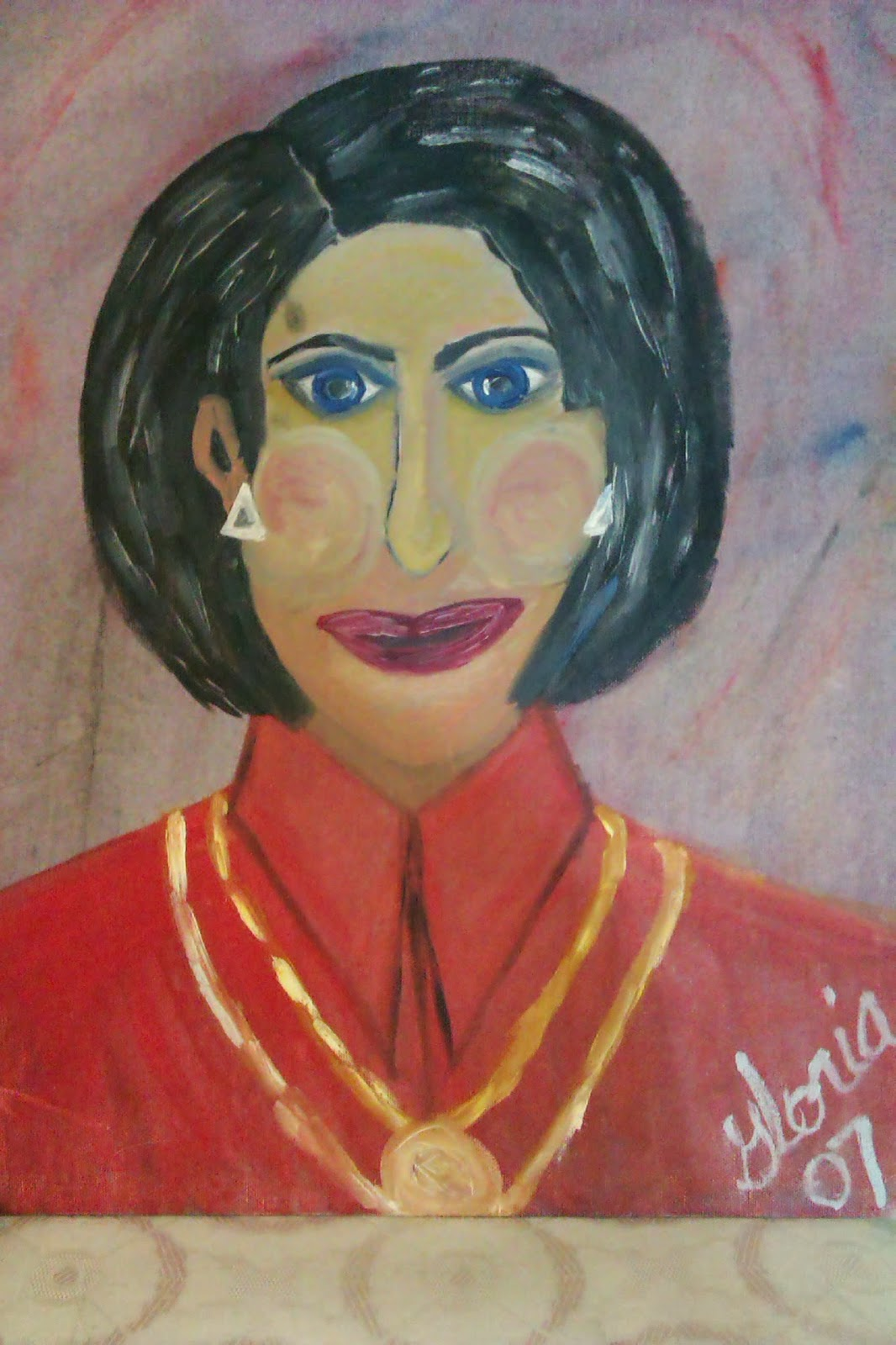 """Greek lady"" ethnic series oil painting by Gloria Poole; yr 2007"