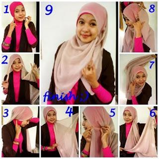 cara memakai jilbab pashmina sifon ala april jasmine