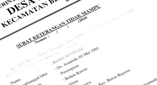 Surat keterangan tidak mampu SKTM untuk warga miskin sebagai syarat menjadi peserta BPJS PBI