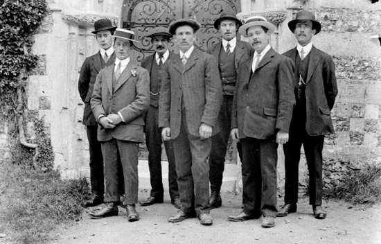 Photograph of Bell Ringers at St Mary's Church c.1914. Back Row: J.Dell, A.Groom, J.Massey, J.Day. Front Row: R.Perry, G.Spencer, C.Nash