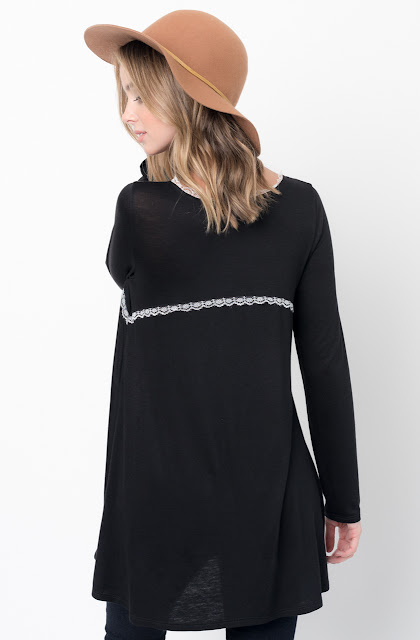 Buy Now Black Lace Trim Long Sleeve Jersey Top Tunic Online - $34 -@caralase.com