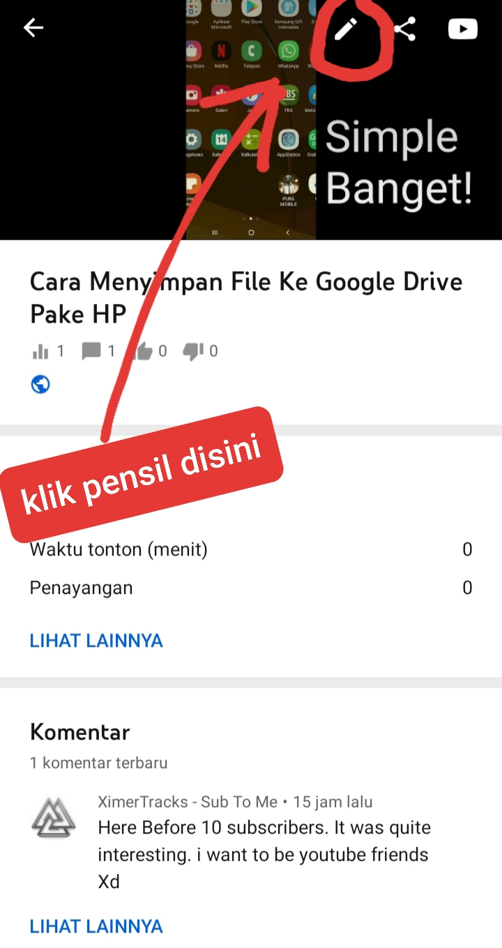 cara kasih video youtube tah