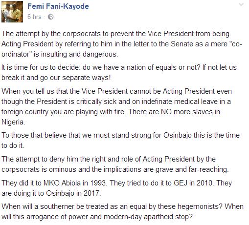 Femi Fani-Kayode message
