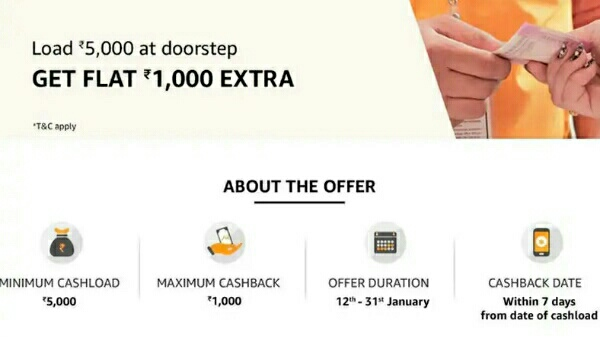 Amazon Pay Cash Load offer: Here's how you can get up to Rs. 1,000 cashback