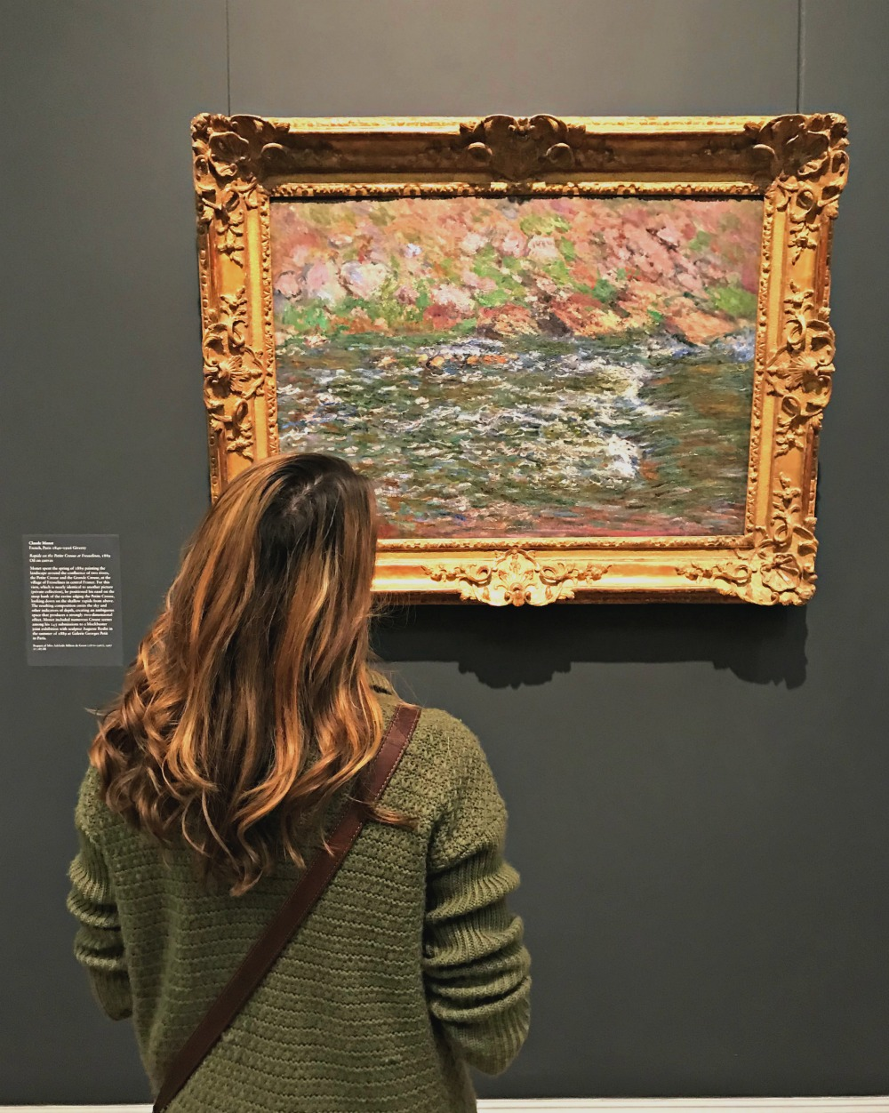 woman looking at a Monet Painting at the Metropolitan Museum of Art