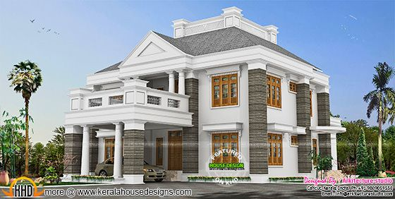Colonial touch sloped roof house plan in Kerala
